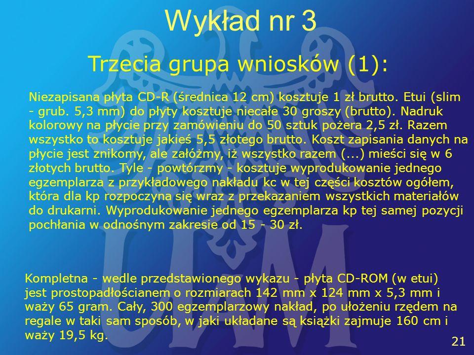 21 Wykład nr 3 Trzecia grupa wniosków (1): Niezapisana płyta CD-R (średnica 12 cm) kosztuje 1 zł brutto.