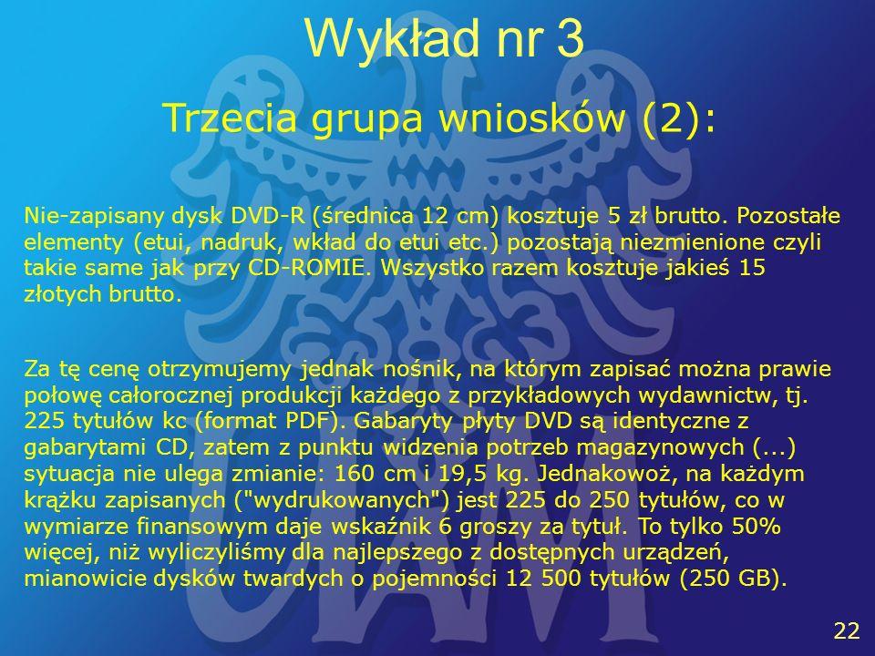 22 Wykład nr 3 Trzecia grupa wniosków (2): Nie-zapisany dysk DVD-R (średnica 12 cm) kosztuje 5 zł brutto.