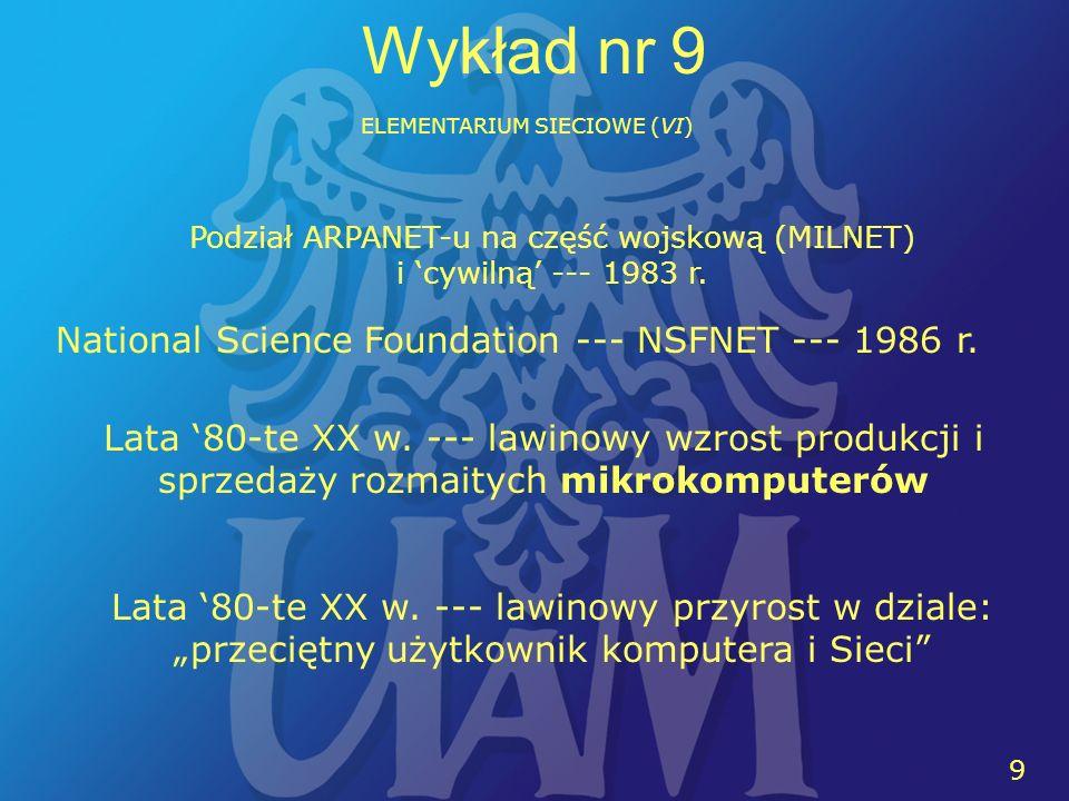 10 Wykład nr 9 ELEMENTARIUM SIECIOWE (VI) World Wide Web: Zdecentralizowany (rozproszony) system hipertekstowy Sir Timothy John Berners-Lee: 6 sierpnia 1991 r.