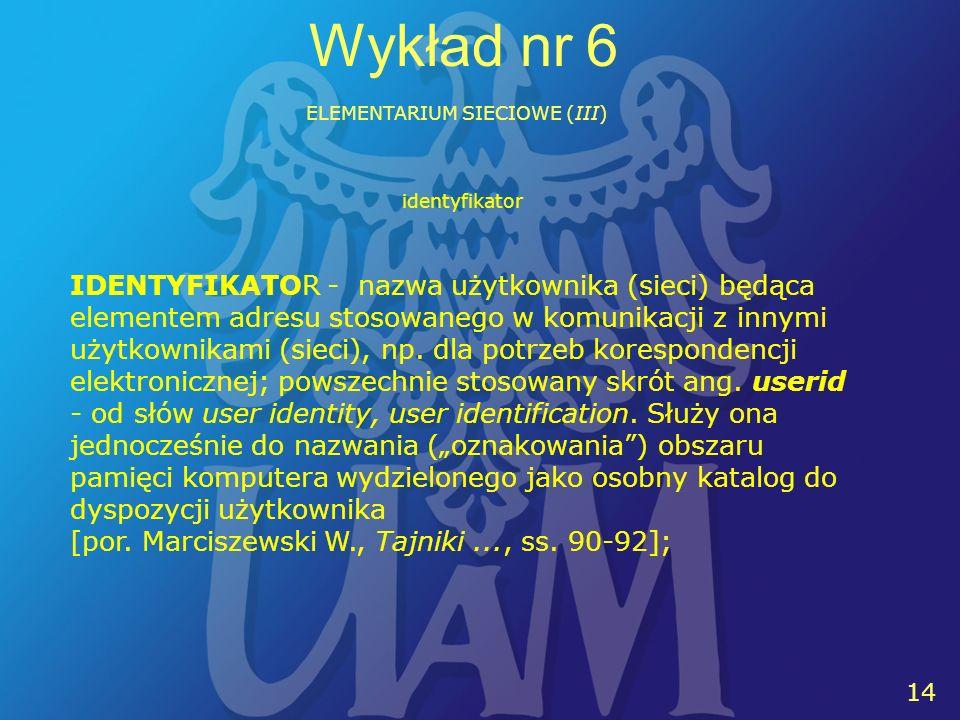 14 Wykład nr 6 ELEMENTARIUM SIECIOWE (III) IDENTYFIKATOR - nazwa użytkownika (sieci) będąca elementem adresu stosowanego w komunikacji z innymi użytkownikami (sieci), np.
