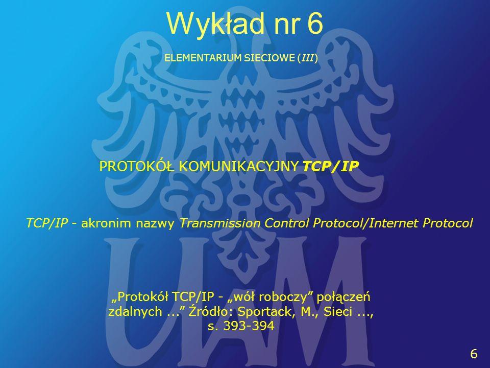 17 Wykład nr 6 ELEMENTARIUM SIECIOWE (III) HASŁO (password) - tu: łańcuch kilku lub kilkunastu znaków pozwalający zweryfikować uprawnienia osoby próbującej rozpocząć pracę z komputerem lokalnym lub odległym MELDOWANIE SIĘ (1), WYMELDOWANIE SIĘ (2) - tu: (1) czynność rozpoczynania pracy z komputerem (maszyna lokalna lub odległa) oraz (2) czynność zakończenia pracy z komputerem (maszyna lokalna lub odległa).