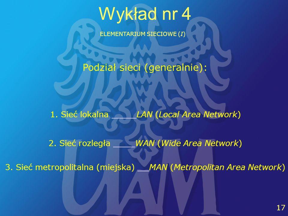 21 17 Wykład nr 4 ELEMENTARIUM SIECIOWE (I) 1. Sieć lokalna LAN (Local Area Network) 2. Sieć rozległa WAN (Wide Area Network) Podział sieci (generalni