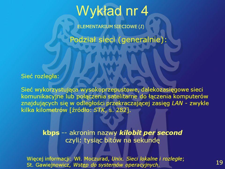 24 19 Wykład nr 4 ELEMENTARIUM SIECIOWE (I) Sieć rozległa: Sieć wykorzystująca wysokoprzepustowe, dalekozasięgowe sieci komunikacyjne lub połączenia s