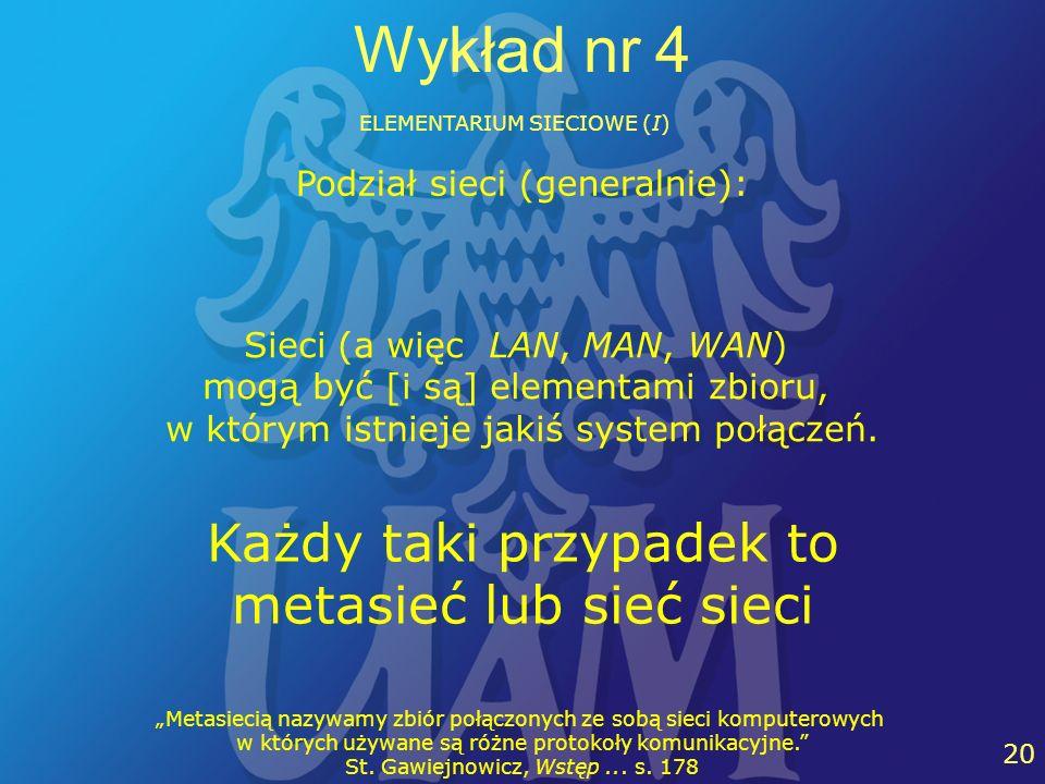 26 20 Wykład nr 4 ELEMENTARIUM SIECIOWE (I) Sieci (a więc LAN, MAN, WAN) mogą być [i są] elementami zbioru, w którym istnieje jakiś system połączeń. K
