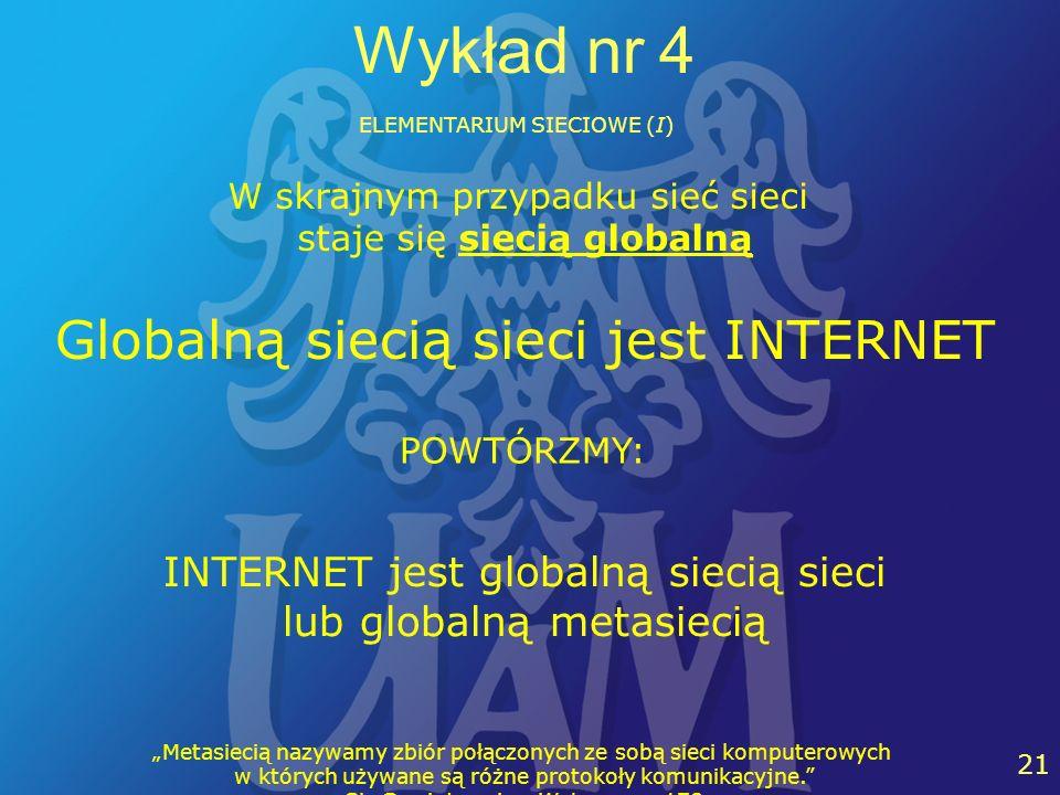 27 21 Wykład nr 4 ELEMENTARIUM SIECIOWE (I) W skrajnym przypadku sieć sieci staje się siecią globalną Globalną siecią sieci jest INTERNET INTERNET jes