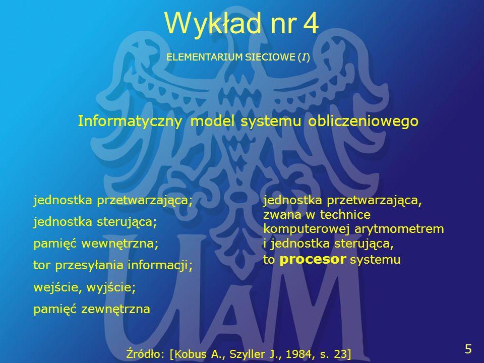 5 5 Wykład nr 4 ELEMENTARIUM SIECIOWE (I) Informatyczny model systemu obliczeniowego jednostka przetwarzająca; jednostka sterująca; pamięć wewnętrzna;