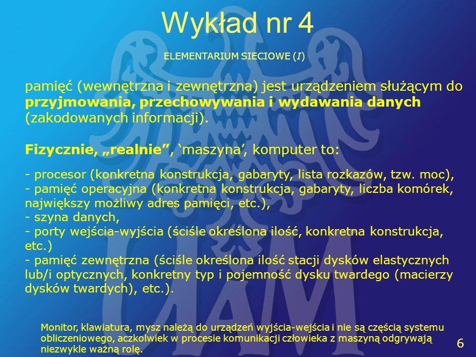 17 14 Wykład nr 4 ELEMENTARIUM SIECIOWE (I) Przyjęta definicja sieci komputerowej: System połączeń w zbiorze komputerów (mikrokomputerów).