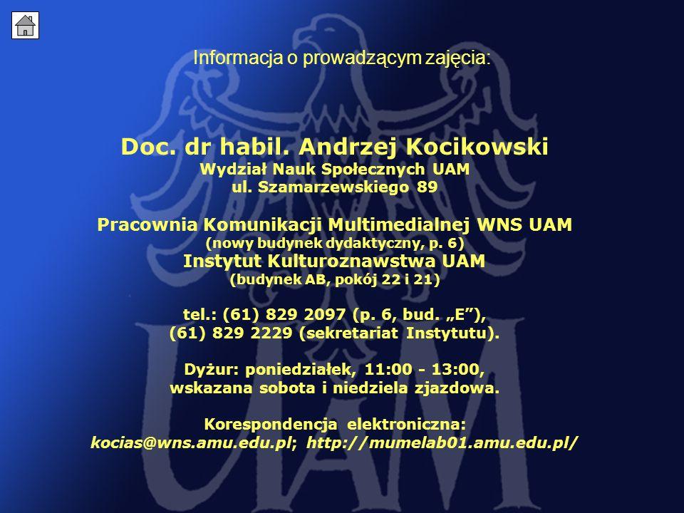 1 Informacja o prowadzącym zajęcia: Doc.dr habil.