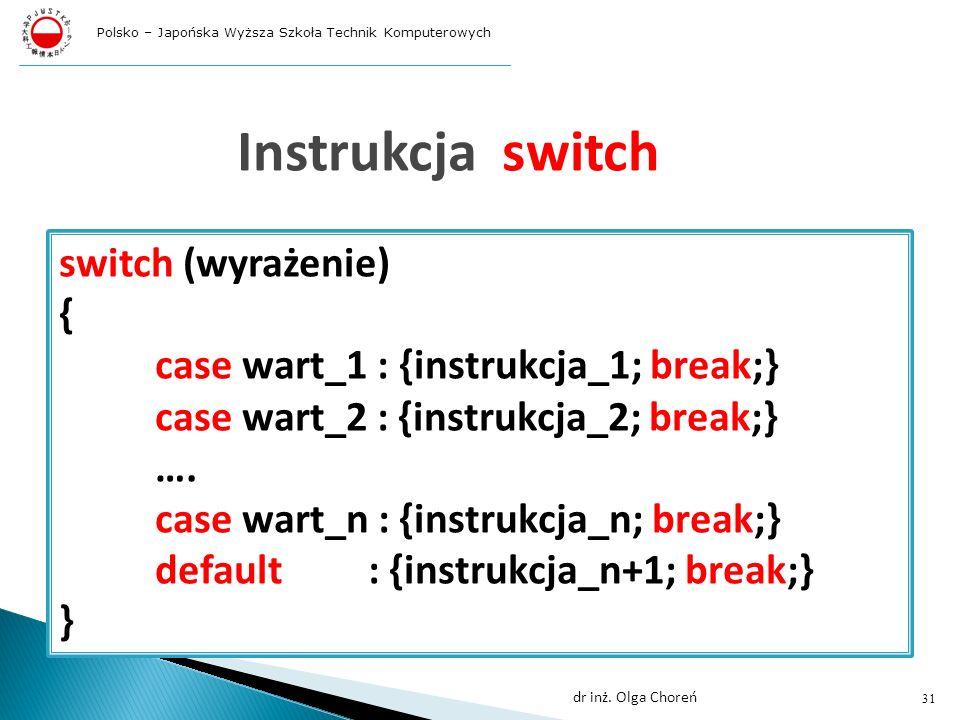 Instrukcja switch switch (wyrażenie) { case wart_1 : {instrukcja_1; break;} case wart_2 : {instrukcja_2; break;} ….