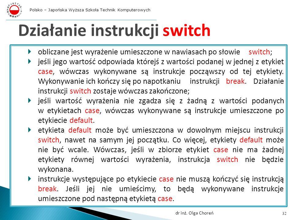 Działanie instrukcji switch obliczane jest wyrażenie umieszczone w nawiasach po słowie switch; jeśli jego wartość odpowiada którejś z wartości podanej w jednej z etykiet case, wówczas wykonywane są instrukcje począwszy od tej etykiety.