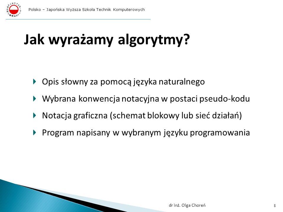 w każdym programie w języku C++ musi być specjalna funkcja o nazwie main; od tej funkcji zaczyna się wykonywanie programu; instrukcje wykonywane w ramach tej funkcji zawarte są między dwoma nawiasami klamrowymi { }; operacje wejścia/wyjścia nie są częścią definicji języka C++ ; podprogramy odpowiedzialne za te operacje znajdują się w jednej ze standardowych bibliotek; jeżeli chcemy skorzystać w programie z takiej biblioteki, musimy na początku programu umieścić wiersz: #include wówczas kompilator przed przystąpieniem do pracy nad dalszą częścią programu wstawi w tym miejscu tzw.