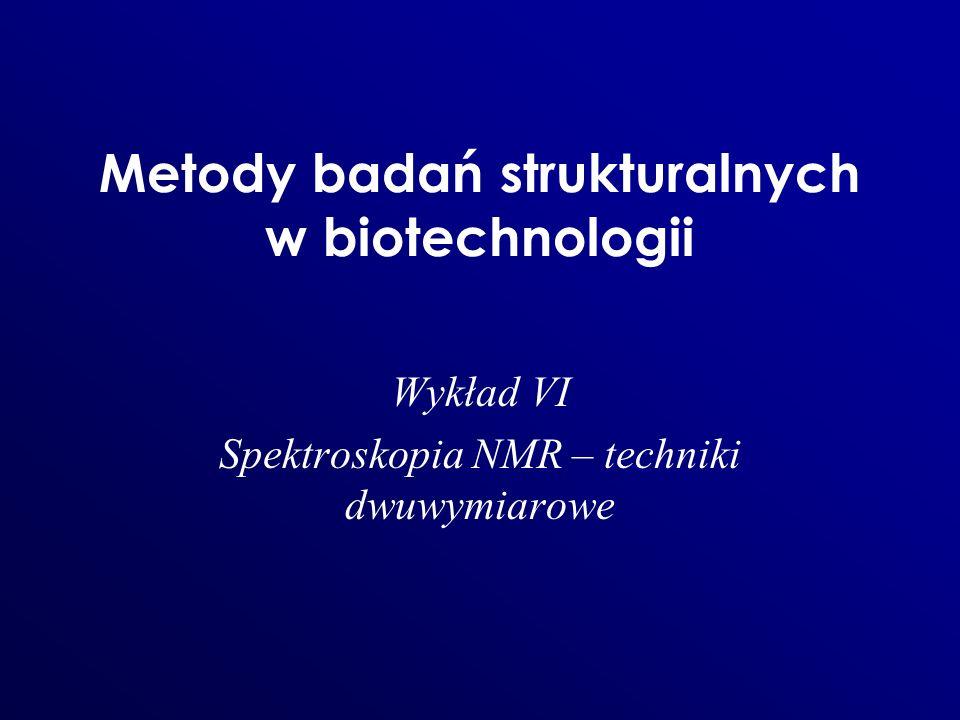 Metody badań strukturalnych w biotechnologii Wykład VI Spektroskopia NMR – techniki dwuwymiarowe