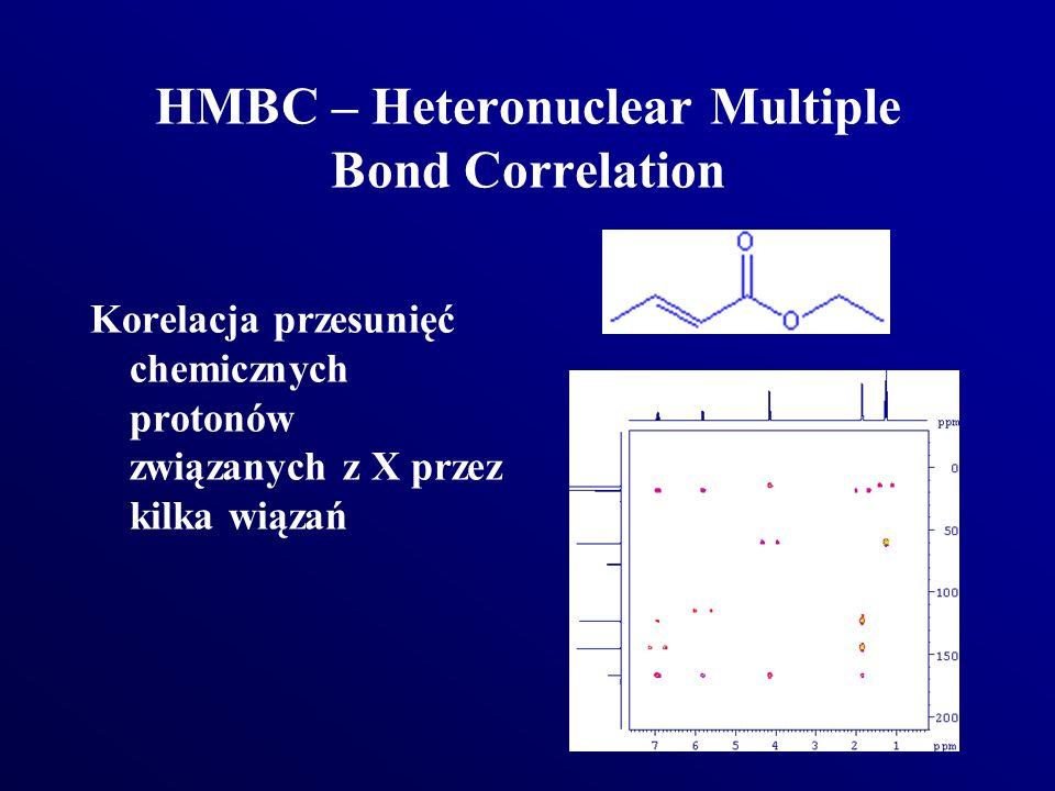 HMBC – Heteronuclear Multiple Bond Correlation Korelacja przesunięć chemicznych protonów związanych z X przez kilka wiązań