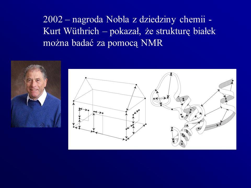 2002 – nagroda Nobla z dziedziny chemii - Kurt Wüthrich – pokazał, że strukturę białek można badać za pomocą NMR