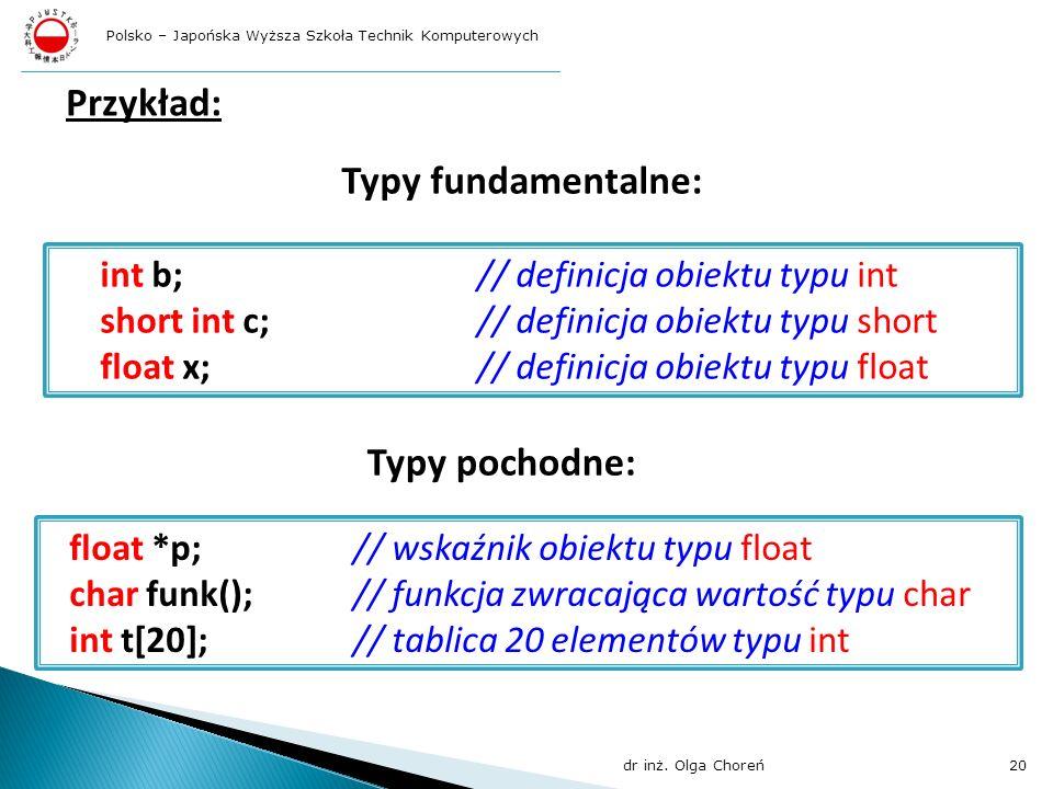 Przykład: int b;// definicja obiektu typu int short int c;// definicja obiektu typu short float x;// definicja obiektu typu float float *p;// wskaźnik