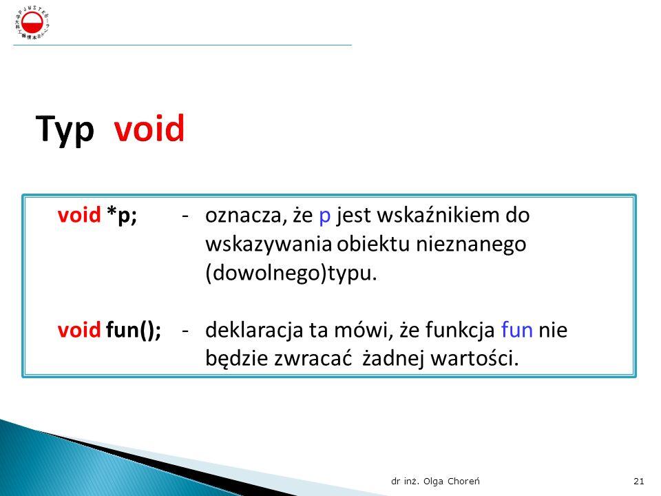 void *p;- oznacza, że p jest wskaźnikiem do wskazywania obiektu nieznanego (dowolnego)typu. void fun();- deklaracja ta mówi, że funkcja fun nie będzie