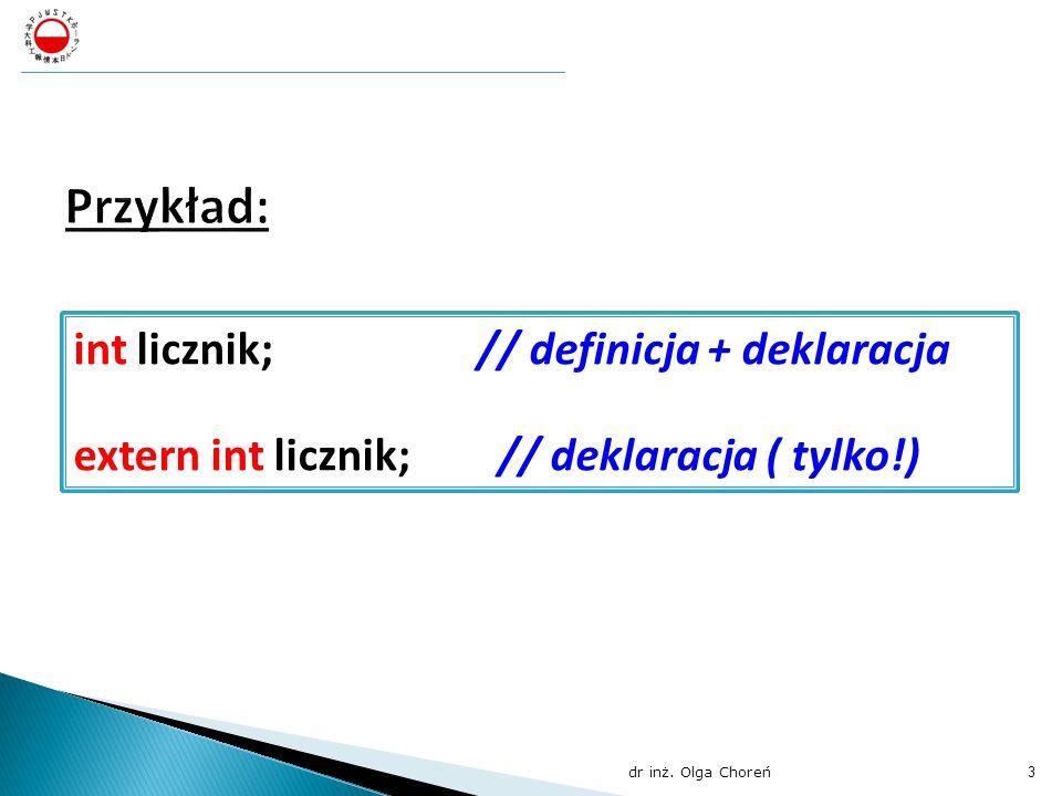 int licznik; // definicja + deklaracja extern int licznik;// deklaracja ( tylko!) dr inż. Olga Choreń 3 Polsko – Japońska Wyższa Szkoła Technik Komput