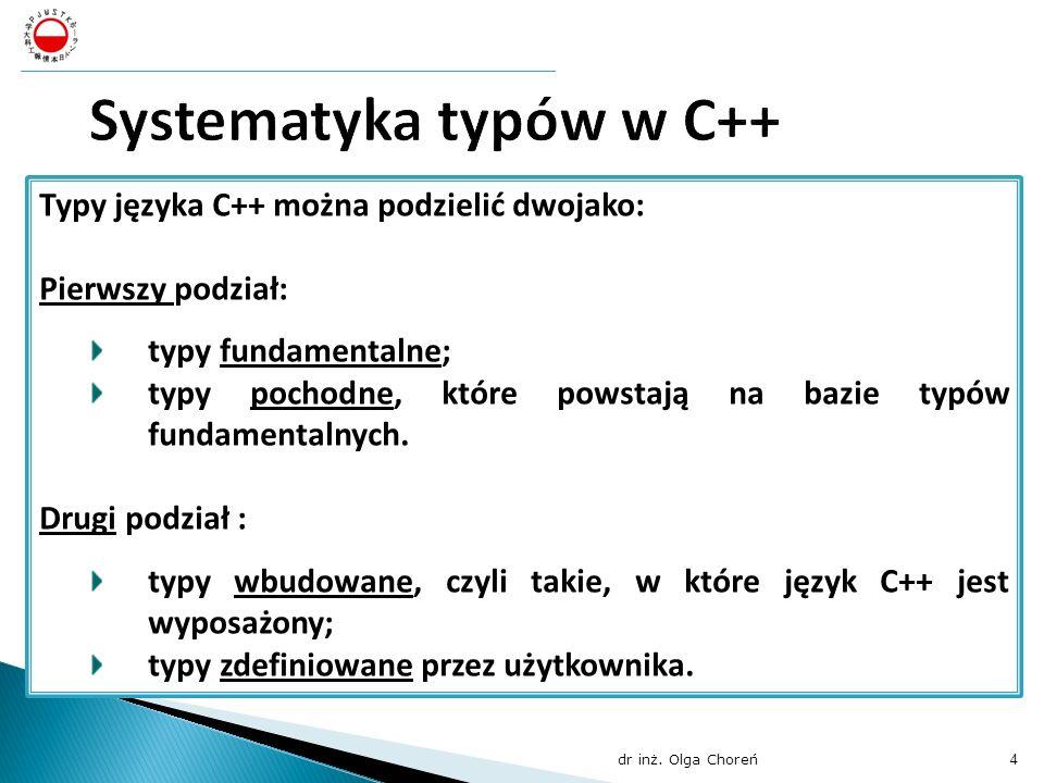 Typy języka C++ można podzielić dwojako: Pierwszy podział: typy fundamentalne; typy pochodne, które powstają na bazie typów fundamentalnych. Drugi pod