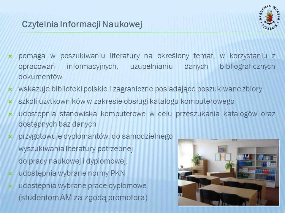 TRADYCYJNE ŹRÓDŁA INFORMACJI bibliografie drukowane informatory rezolucje i kodeksy Międzynarodowej Organizacji Morskiej encyklopedie i słowniki wydawnictwa naukowe podręczniki i skrypty materiały konferencyjne publikacje Polskiego Rejestru Statków normy PKN prace dyplomowe