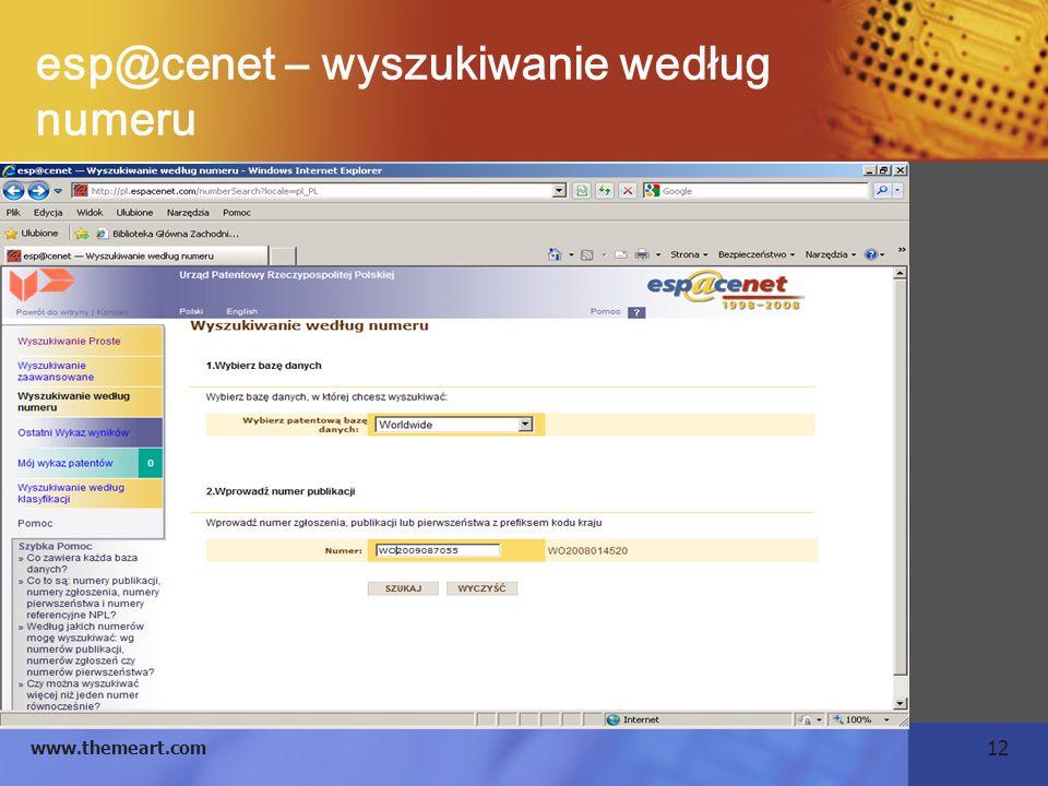 12 www.themeart.com esp@cenet – wyszukiwanie według numeru