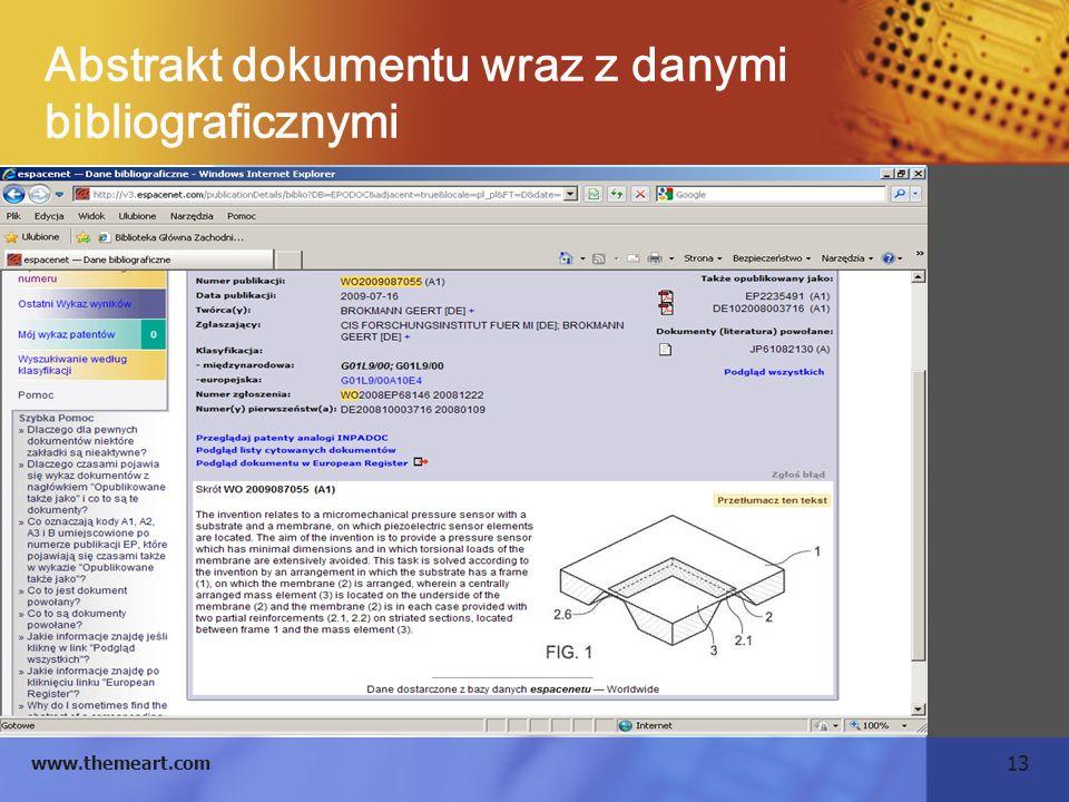 13 www.themeart.com Abstrakt dokumentu wraz z danymi bibliograficznymi