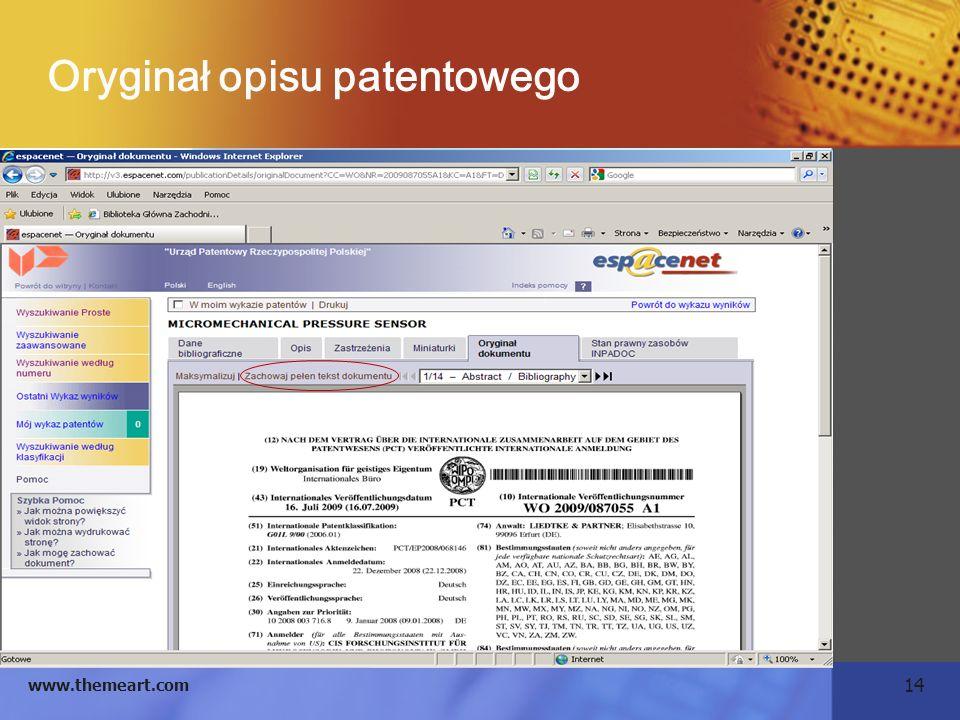 14 www.themeart.com Oryginał opisu patentowego