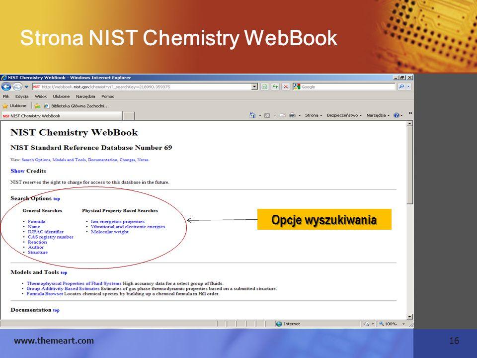 16 www.themeart.com Strona NIST Chemistry WebBook Opcje wyszukiwania