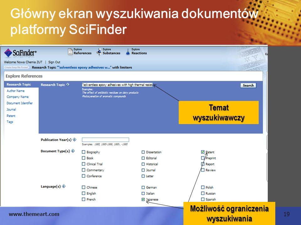 19 www.themeart.com Główny ekran wyszukiwania dokumentów platformy SciFinder Temat wyszukiwawczy Możliwość ograniczenia wyszukiwania