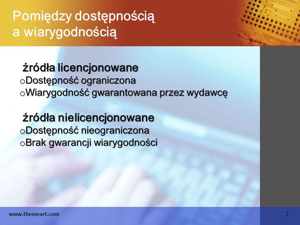 2 www.themeart.com Pomiędzy dostępnością a wiarygodnością źródła licencjonowane źródła licencjonowane o Dostępność ograniczona o Wiarygodność gwaranto