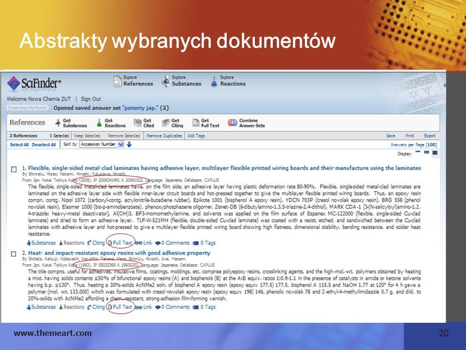 20 www.themeart.com Abstrakty wybranych dokumentów