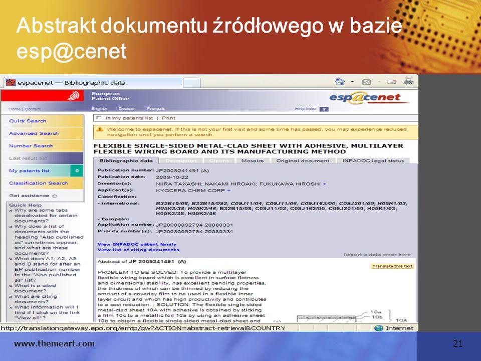 21 www.themeart.com Abstrakt dokumentu źródłowego w bazie esp@cenet