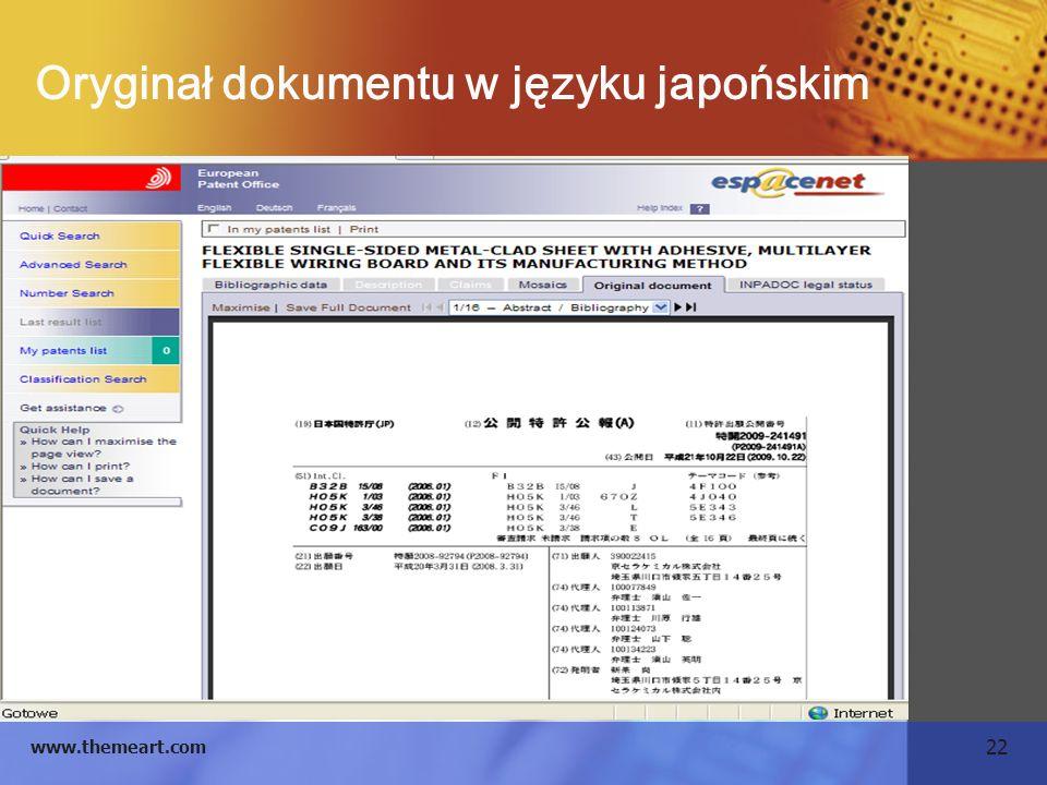 22 www.themeart.com Oryginał dokumentu w języku japońskim