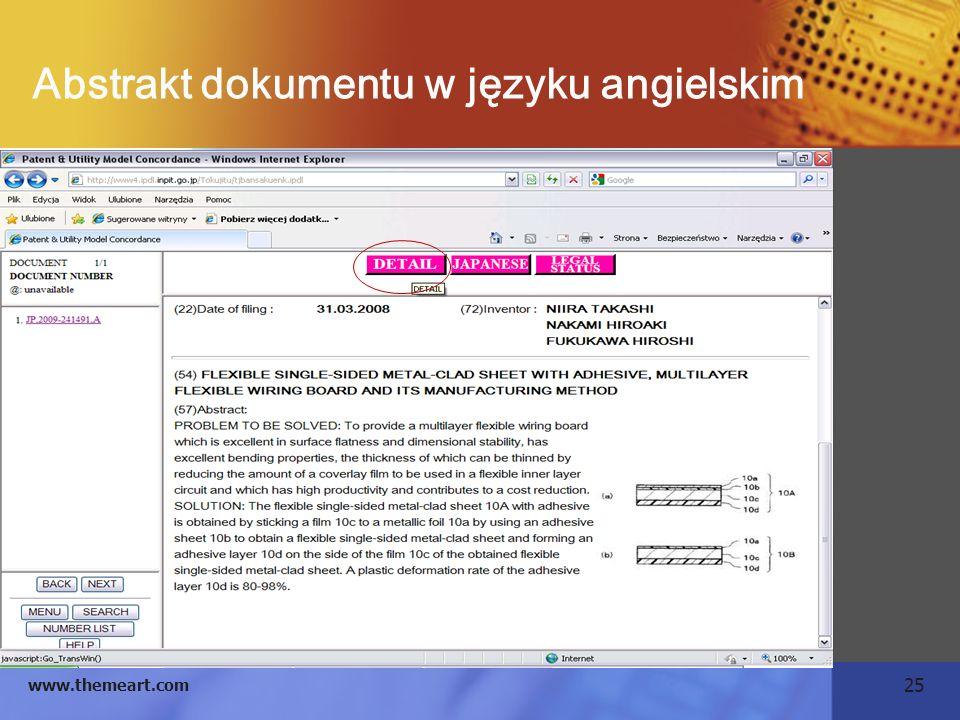 25 www.themeart.com Abstrakt dokumentu w języku angielskim