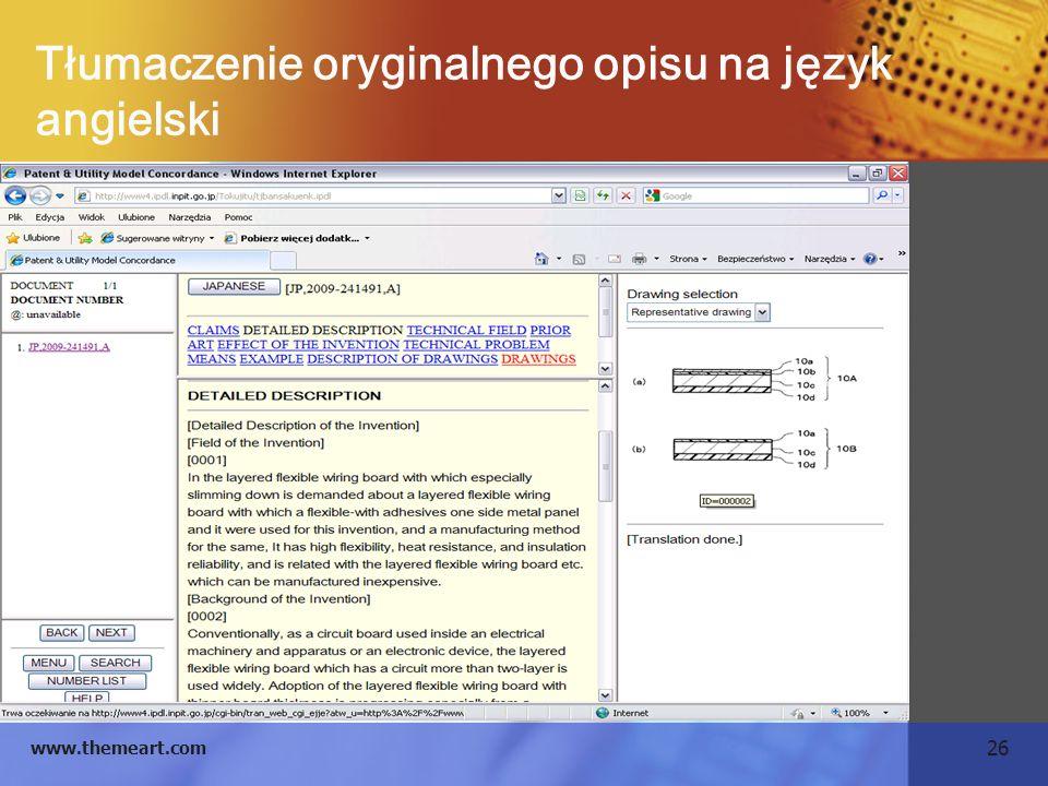 26 www.themeart.com Tłumaczenie oryginalnego opisu na język angielski