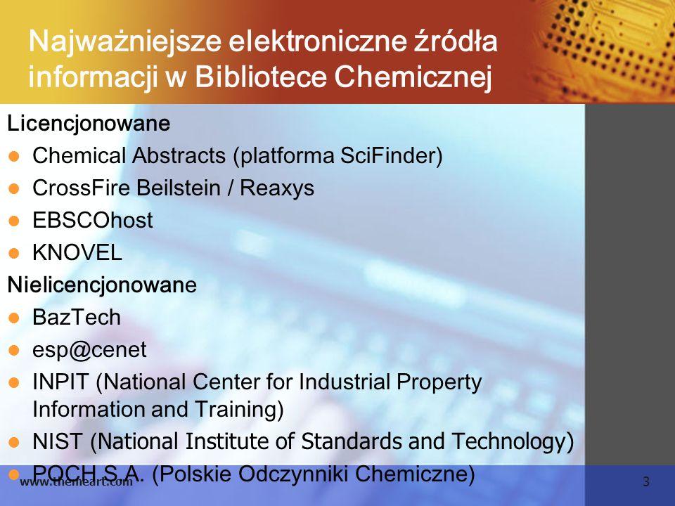 3 www.themeart.com Najważniejsze elektroniczne źródła informacji w Bibliotece Chemicznej Licencjonowane Chemical Abstracts (platforma SciFinder) Cross