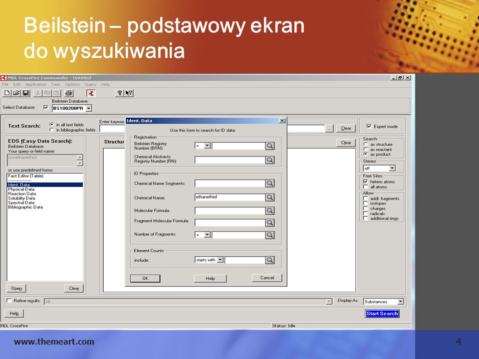 4 www.themeart.com Beilstein – podstawowy ekran do wyszukiwania