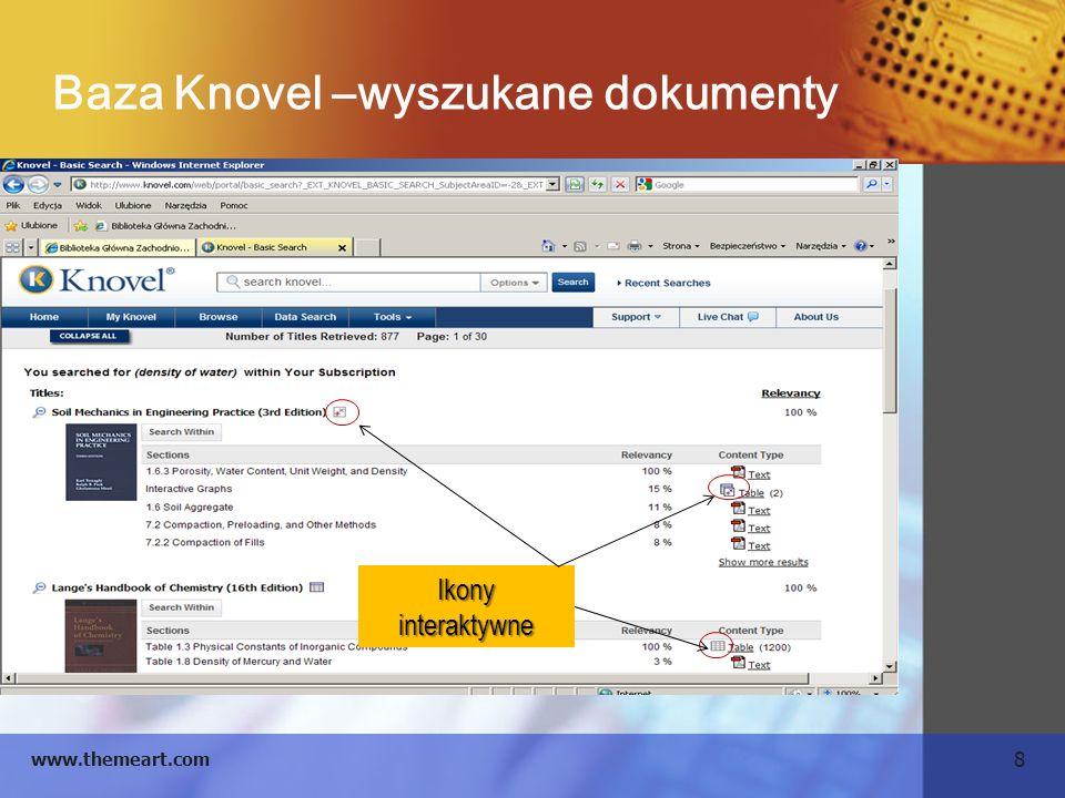 8 www.themeart.com Baza Knovel –wyszukane dokumenty Ikony interaktywne