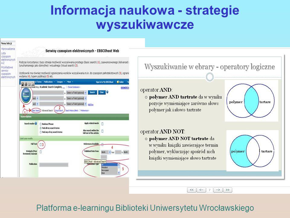 Informacja naukowa - strategie wyszukiwawcze Platforma e-learningu Biblioteki Uniwersytetu Wrocławskiego