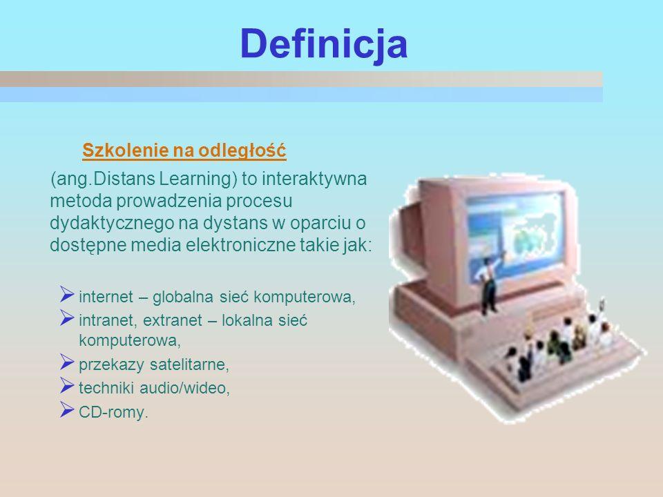 Definicja Szkolenie na odległość (ang.Distans Learning) to interaktywna metoda prowadzenia procesu dydaktycznego na dystans w oparciu o dostępne media