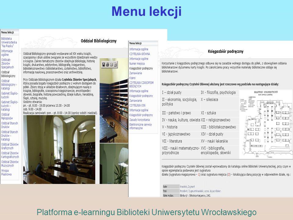 Menu lekcji Platforma e-learningu Biblioteki Uniwersytetu Wrocławskiego