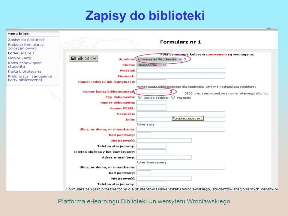 Zapisy do biblioteki Platforma e-learningu Biblioteki Uniwersytetu Wrocławskiego