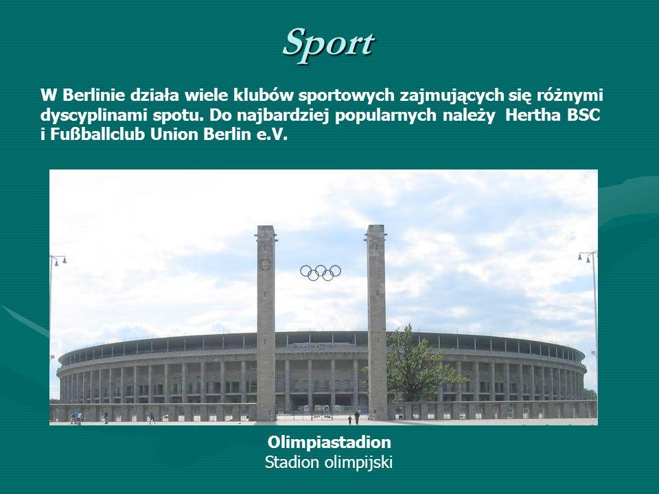 Sport Olimpiastadion Stadion olimpijski W Berlinie działa wiele klubów sportowych zajmujących się różnymi dyscyplinami spotu. Do najbardziej popularny