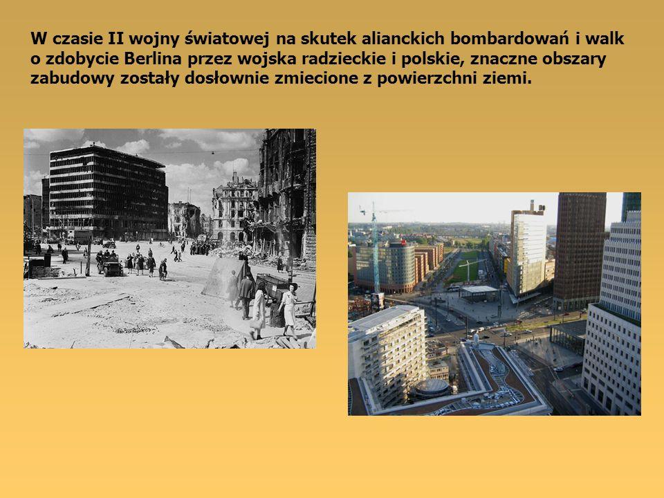 W czasie II wojny światowej na skutek alianckich bombardowań i walk o zdobycie Berlina przez wojska radzieckie i polskie, znaczne obszary zabudowy zos