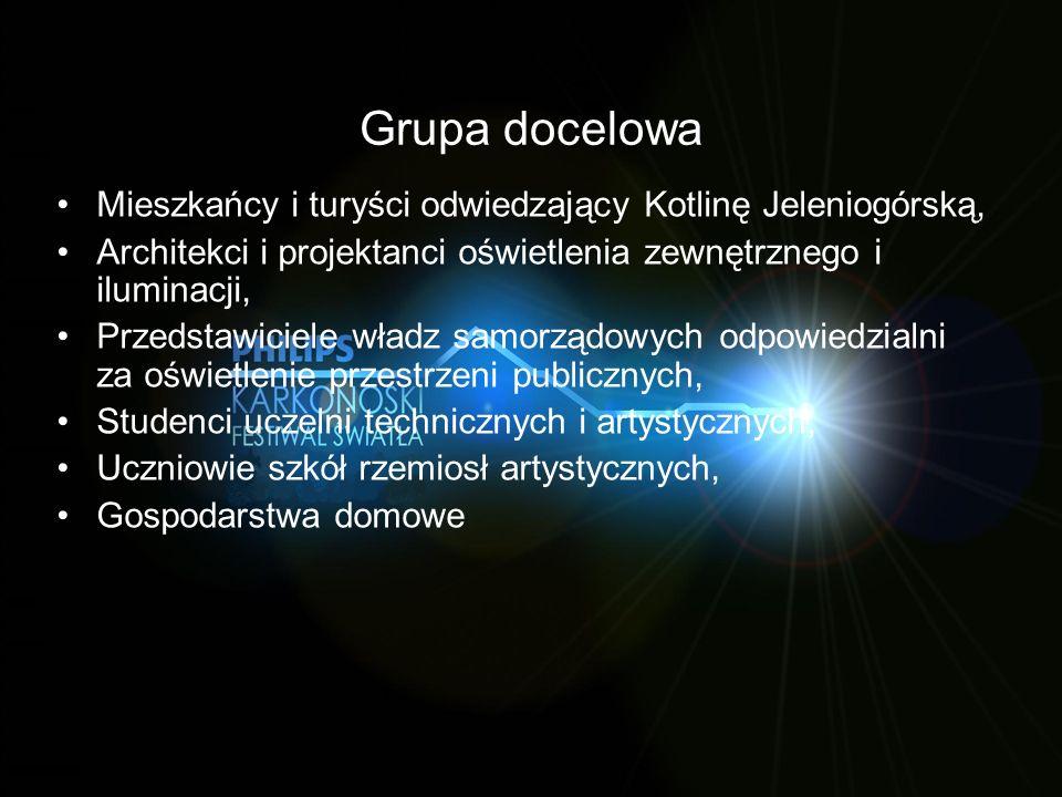 Grupa docelowa Mieszkańcy i turyści odwiedzający Kotlinę Jeleniogórską, Architekci i projektanci oświetlenia zewnętrznego i iluminacji, Przedstawiciel