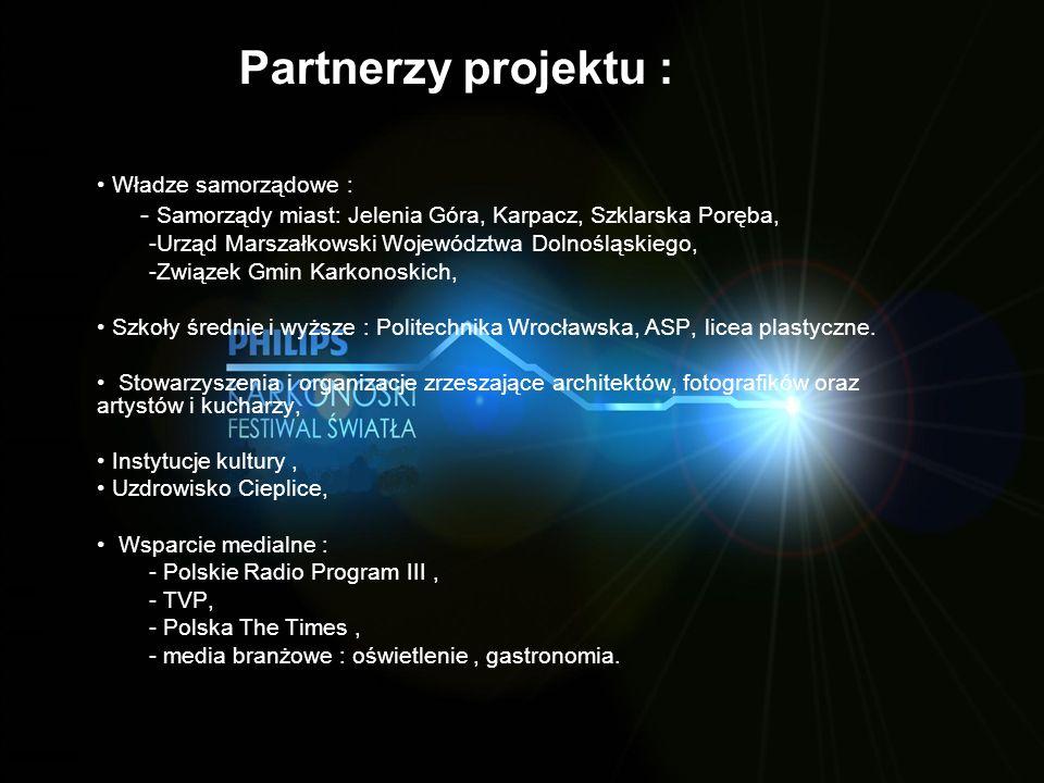 Partnerzy projektu : Władze samorządowe : - Samorządy miast: Jelenia Góra, Karpacz, Szklarska Poręba, -Urząd Marszałkowski Województwa Dolnośląskiego,