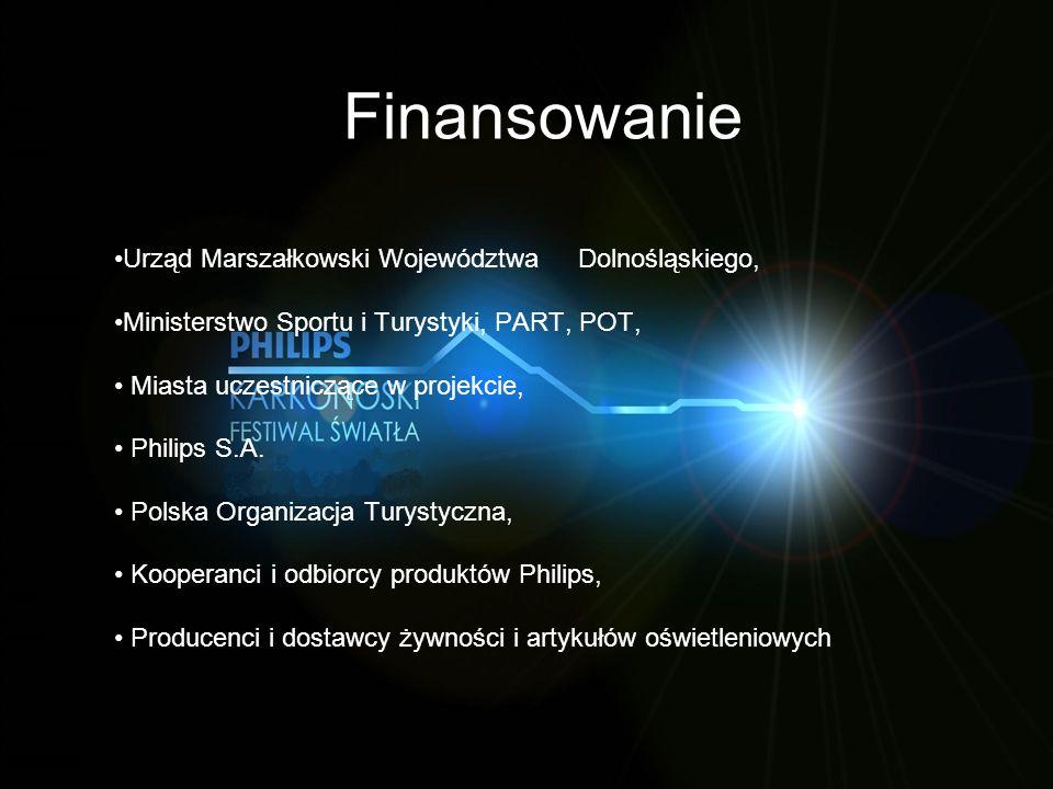 Finansowanie Urząd Marszałkowski Województwa Dolnośląskiego, Ministerstwo Sportu i Turystyki, PART, POT, Miasta uczestniczące w projekcie, Philips S.A.