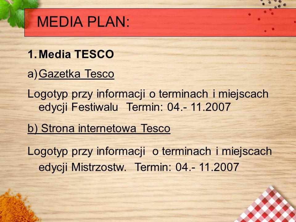 MEDIA PLAN: 1.Media TESCO a)Gazetka Tesco Logotyp przy informacji o terminach i miejscach edycji Festiwalu Termin: 04.- 11.2007 b) Strona internetowa