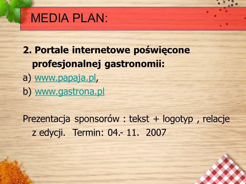 MEDIA PLAN: 2. Portale internetowe poświęcone profesjonalnej gastronomii: a) www.papaja.pl,www.papaja.pl b) www.gastrona.plwww.gastrona.pl Prezentacja