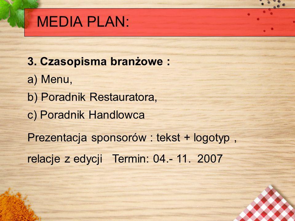 MEDIA PLAN: 3. Czasopisma branżowe : a) Menu, b) Poradnik Restauratora, c) Poradnik Handlowca Prezentacja sponsorów : tekst + logotyp, relacje z edycj