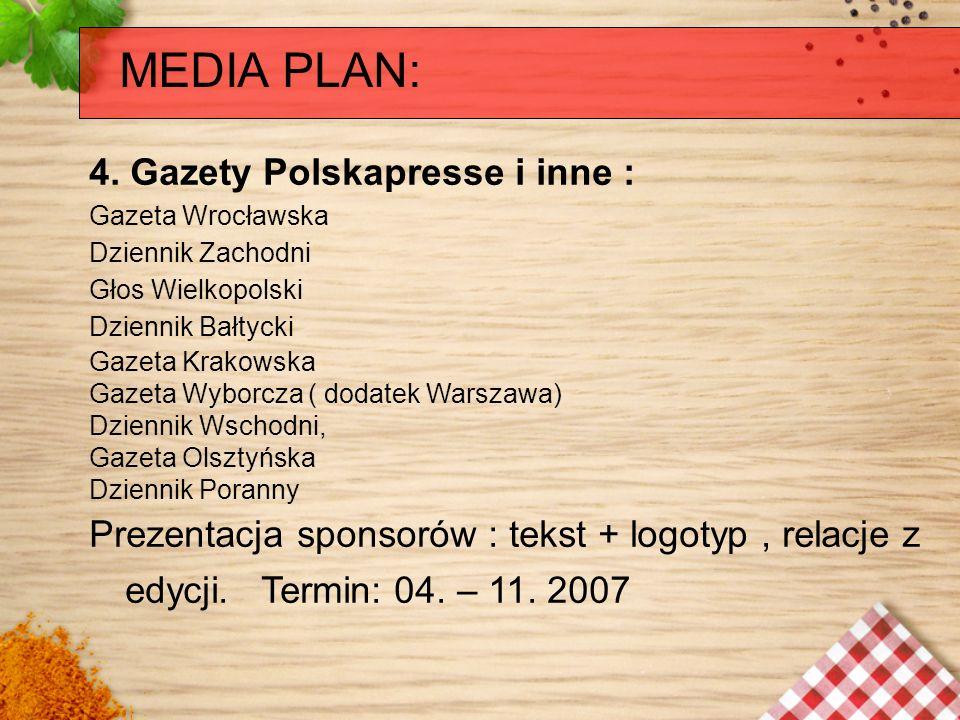 MEDIA PLAN: 4. Gazety Polskapresse i inne : Gazeta Wrocławska Dziennik Zachodni Głos Wielkopolski Dziennik Bałtycki Gazeta Krakowska Gazeta Wyborcza (